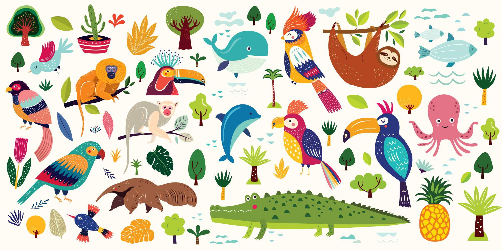 Wandtattoo Kinderzimmer mit Tieren