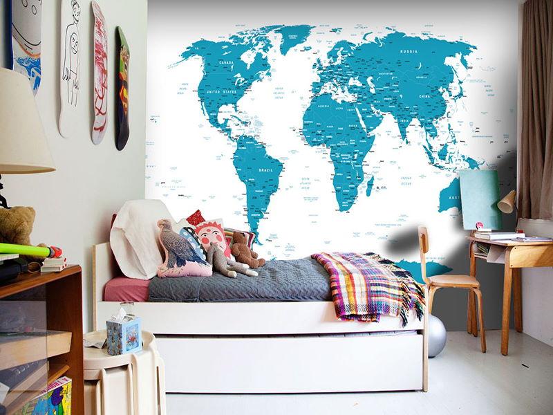 Fototapete blaue Weltkarte im Teenagerzimmer