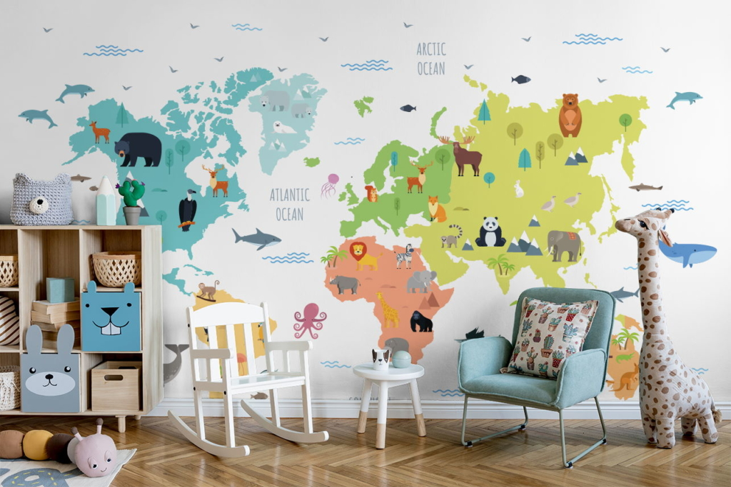 Pastellfarbene Weltkarte als Fototapete im Kinderzimmer